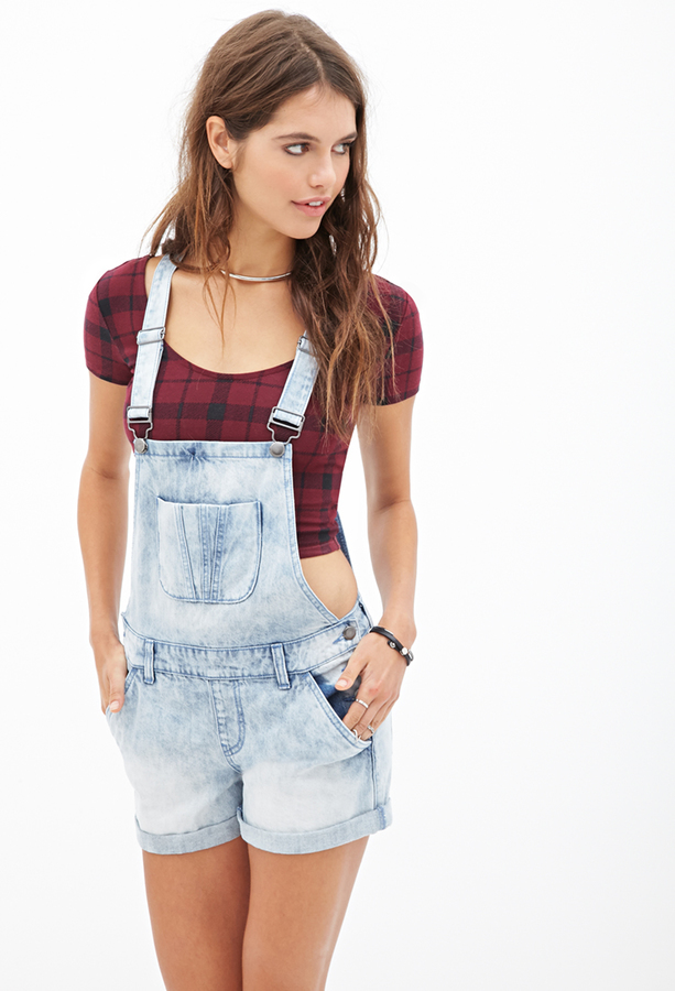... forever 21 mineral wash overall shorts ... nqhdrfo