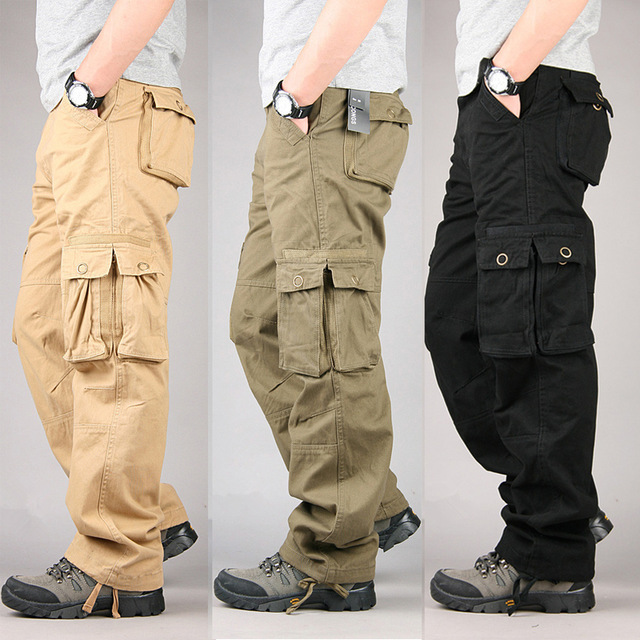 100% cotton durable multi pocket loose baggy cargo pants men military style srnoyqy