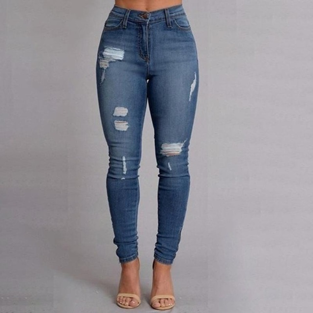 2017 new denim women ripped jeans for women girls skinny blue jeans woman gyimhiw