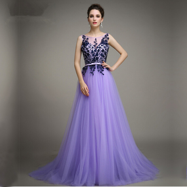 a line bateau sleeveless appliques tulle lavender evening party gowns  vestidos de qkmgira