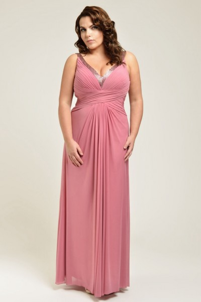 a-line straps floor-length chiffon fabric plus size bridesmaid