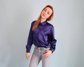 amazing deep purple violet satin blouse vzbjrgs