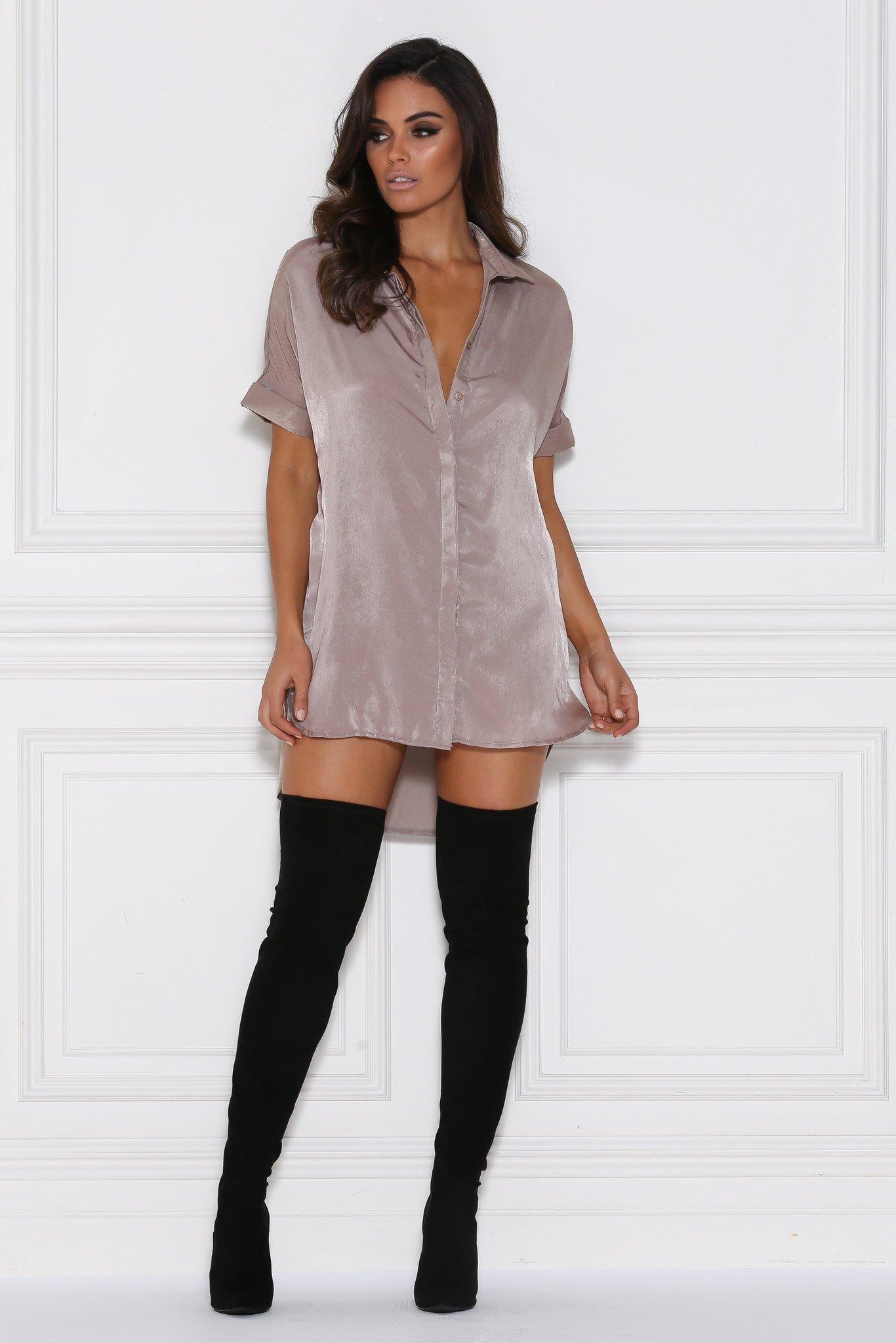 andrea satin shirt dress/top - mocha - meshki ipvsxgf