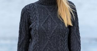 aran cable merino turtleneck sweater - charcoal sdohhqn