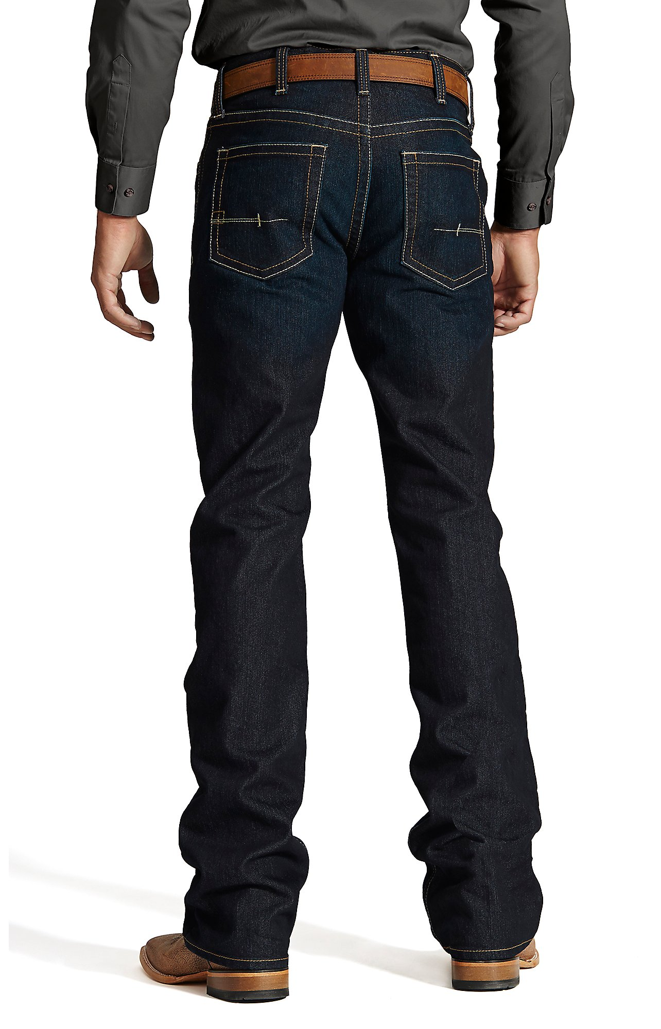 ariat jeans ariat rebar menu0027s dark wash open pocket low rise boot cut work jeans jbphunn