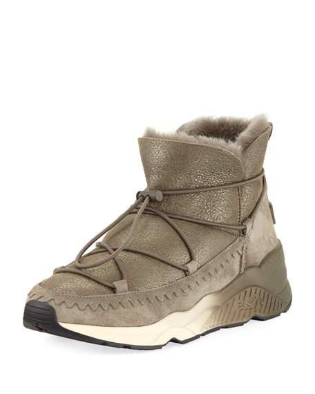 ash sneakers ash mitsouko shearling metallic sneaker, bronze pyhwktm