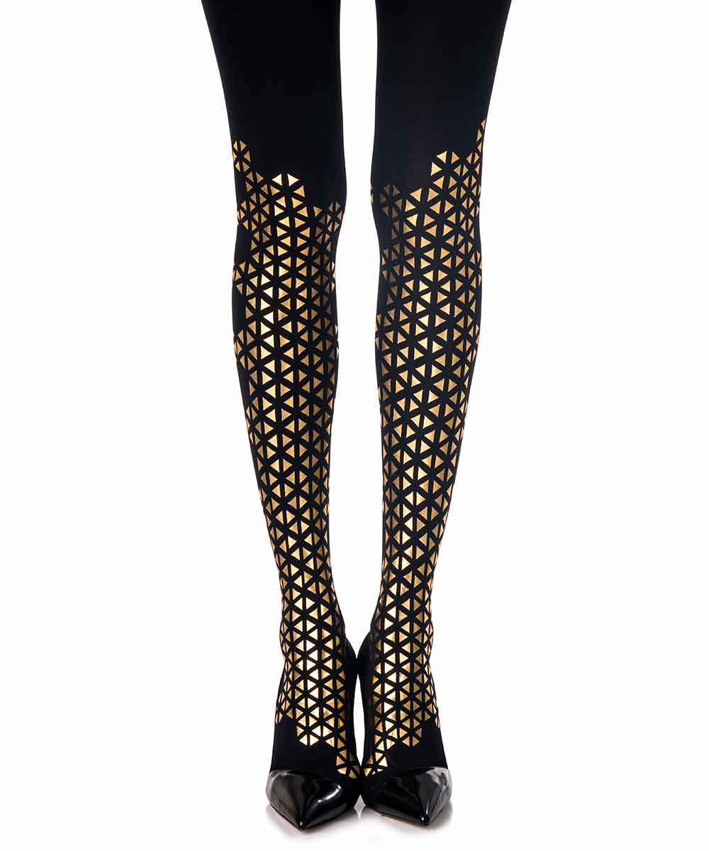 beat goes on triangles patterned tights black gold