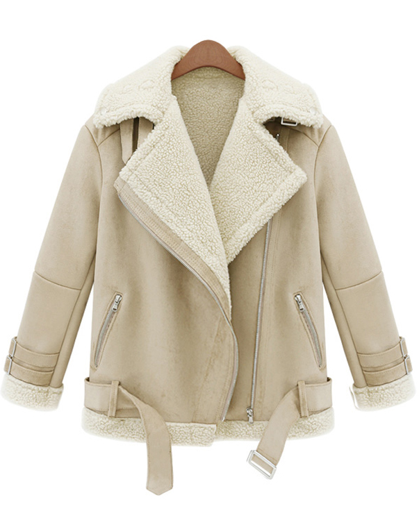 beige lapel long sleeve zipper wool coat -shein(sheinside) arbkvqg