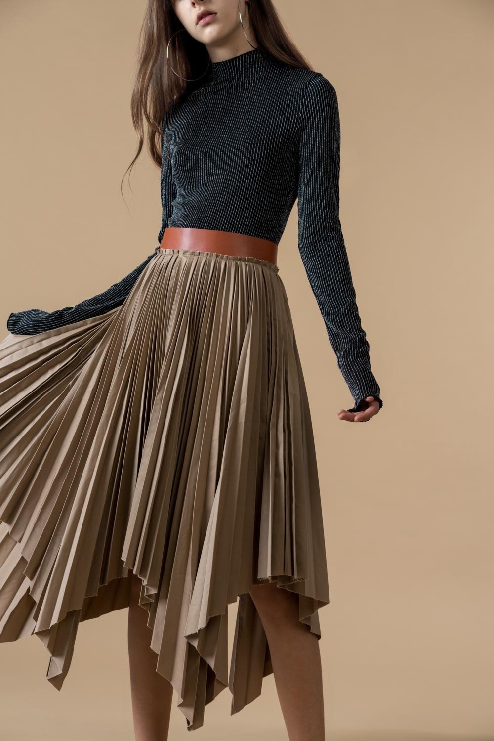 belted pleated skirt oeuzfwn
