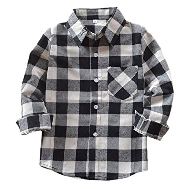 benibos boys flannel button down check plaid shirts (black,2-3t ) zcayazv