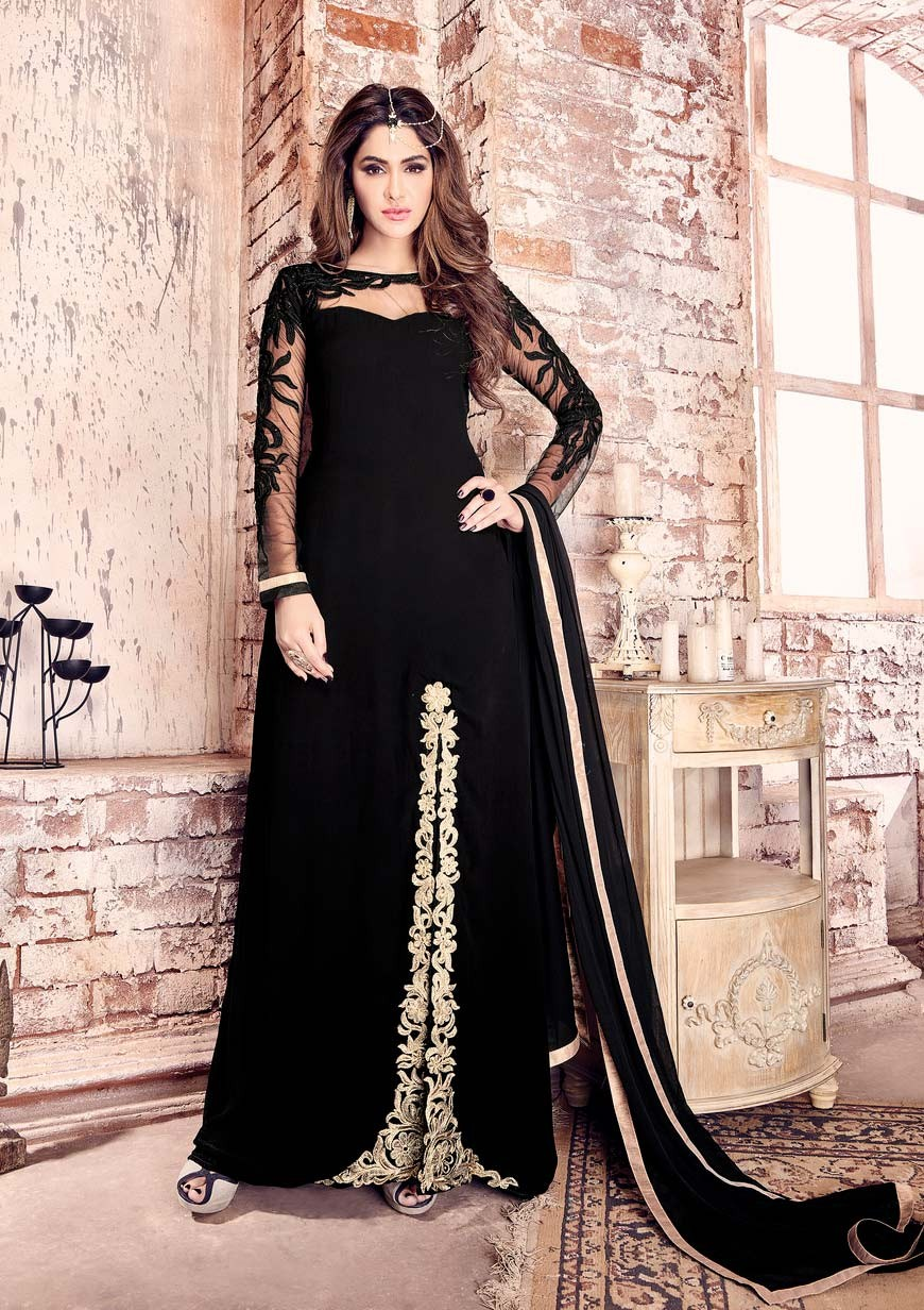 black party wear straight punjabi churidar kamij in georgette d17017 rnofaen
