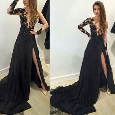 black prom dress a-line long sleeves black chiffon prom dress with appliques split ngbnrml
