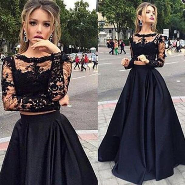 black prom dress dress long prom dress long sleeves prom dress bateau dress lace prom dress dzyljos
