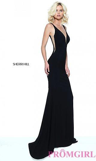 black prom dress long deep v-neck prom dress by sherri hill - promgirl gyskyhp