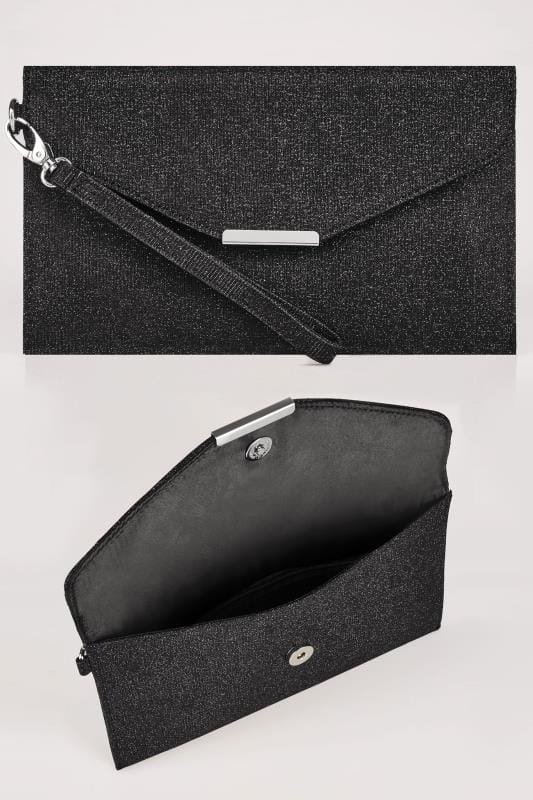 black shimmer envelope clutch bag wuwerku