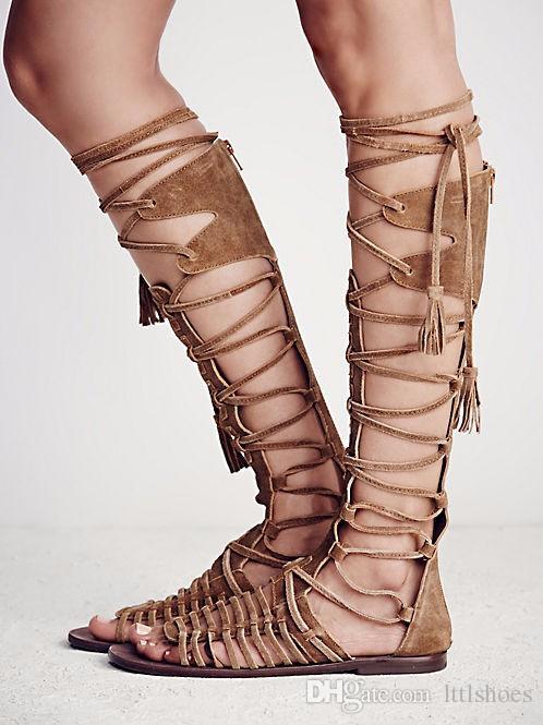 boho bohemian style newest fashion summer boots cross tie fringe flat heel jglpvjp