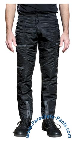 bugle boy black vintage nylon parachute pants with grey zippers dukksip