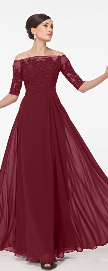 burgundy modest lace prom dresses with sleeves uktyaul