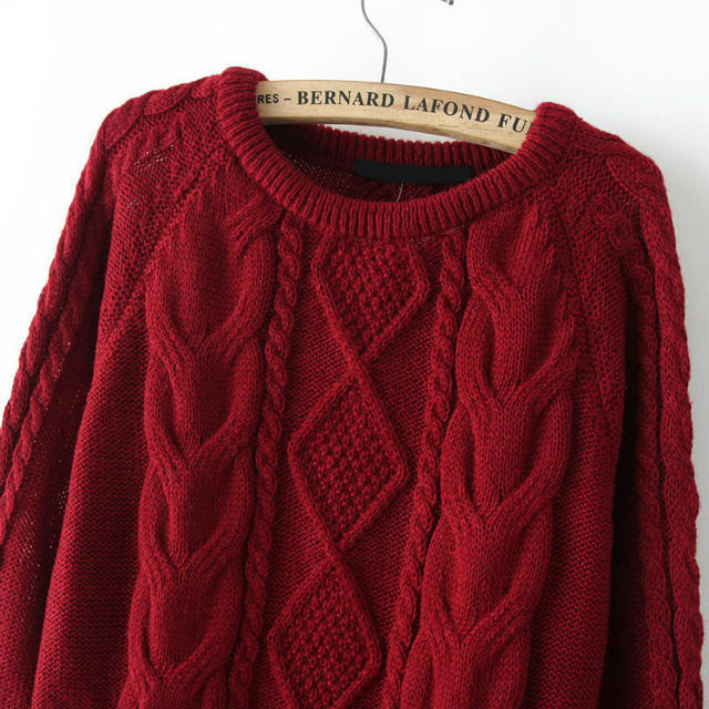 cable knit loose wine red sweater emmacloth-women fast fashion online actktqg