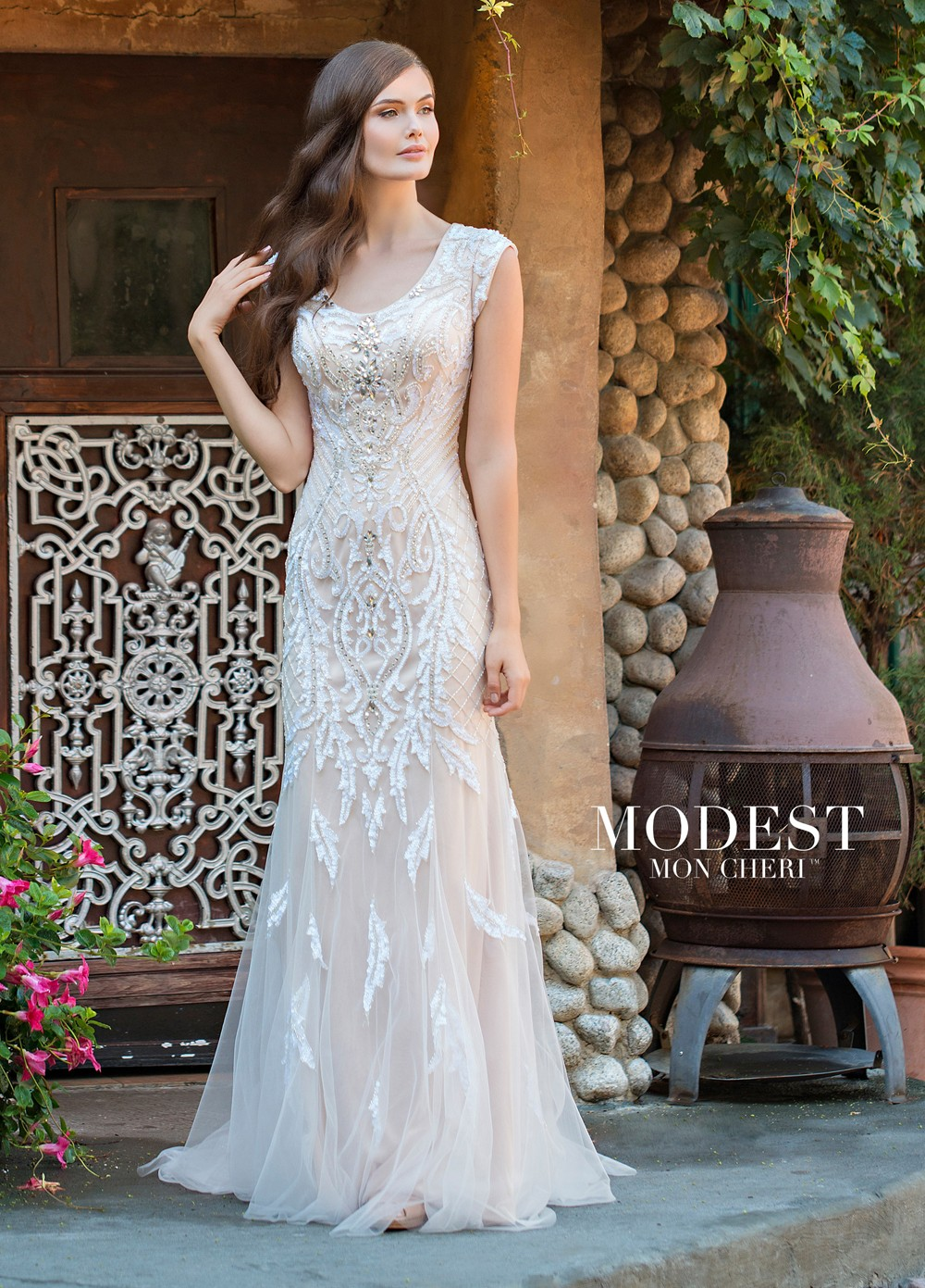 casual wedding dresses modest bridal by mon cheri tr11837 fit and flare wedding gown khvxwoy