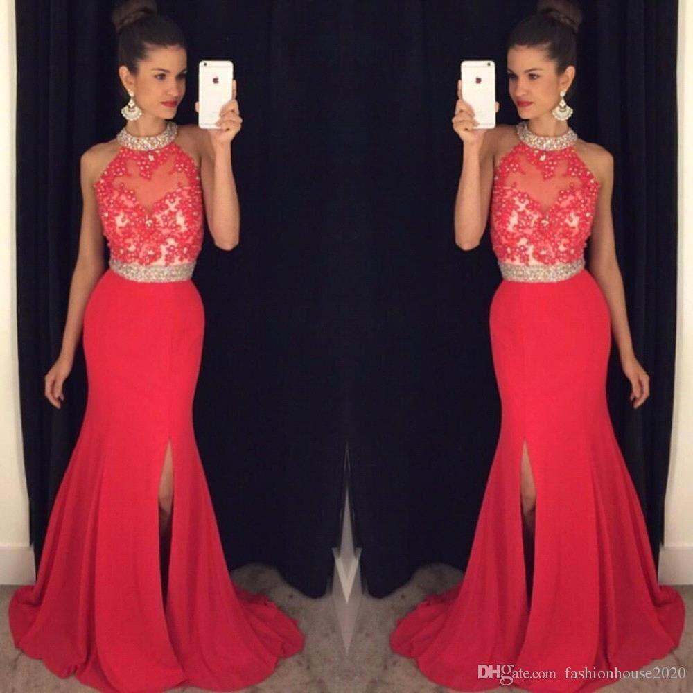 cheap long red prom dresses mermaid 2017 high neck appliques beaded prom ijoasha