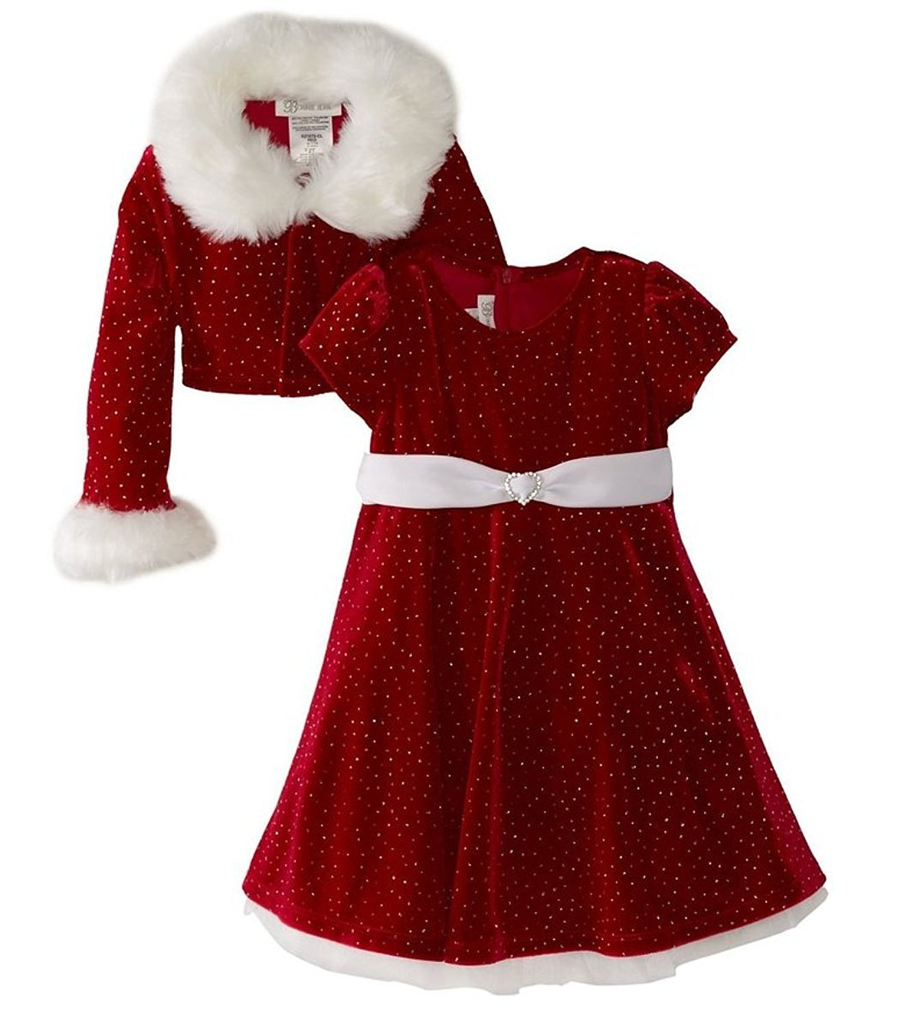 christmas dresses amazon.com: bonnie jean girls christmas dress velvet sparkle dress with  jacket: special tmqmpra