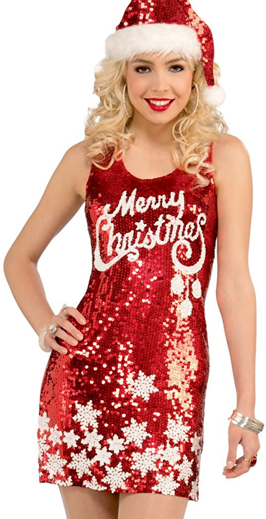 christmas dresses amazon.com: forum novelties womenu0027s racy sequin merry christmas costume  dress, red/white, one ubtzhum
