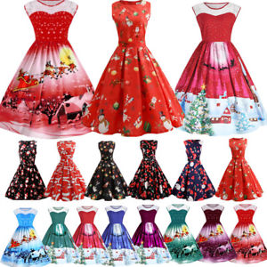 christmas dresses image is loading uk-women-girls-vintage-santa-christmas-dress-rockabilly- flbrito