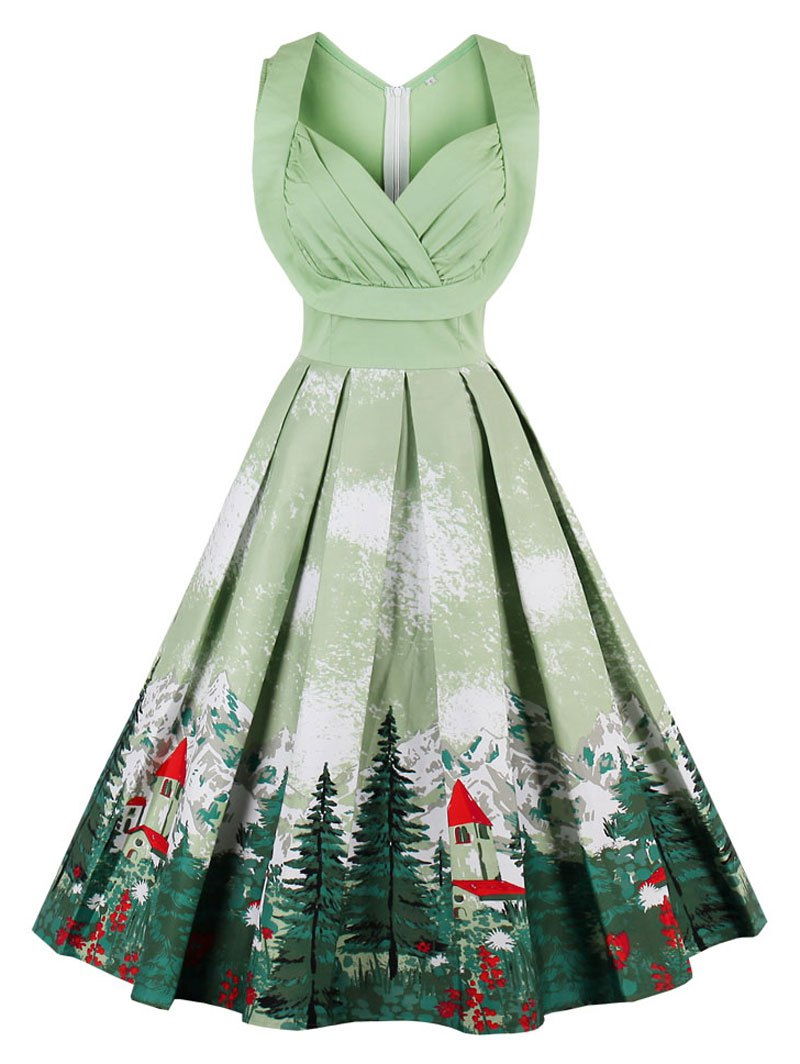 christmas dresses ... vintage ruched forest print christmas pin up dress - pistachio 2xl ... dysicss