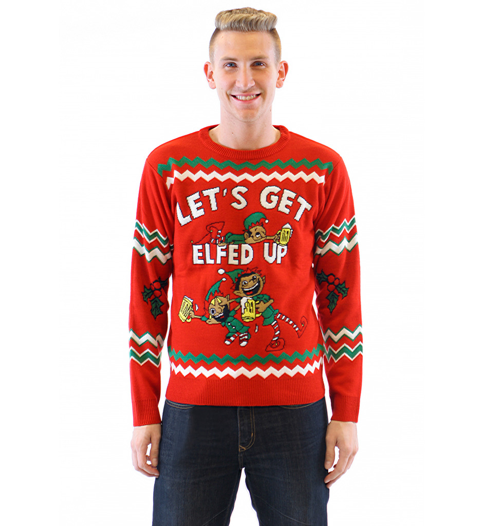 christmas sweaters letu0027s get elfed up drunken elves ugly christmas sweater wixzwuq