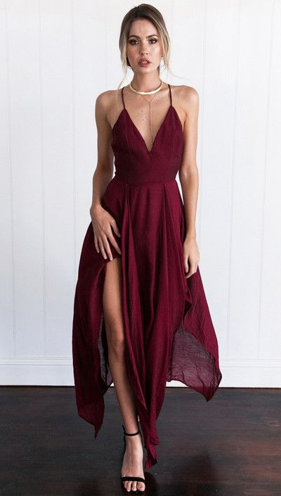 classy dresses sexy straps v-neck long burgundy chiffon prom dress homecoming dress |  beautiful oediazw