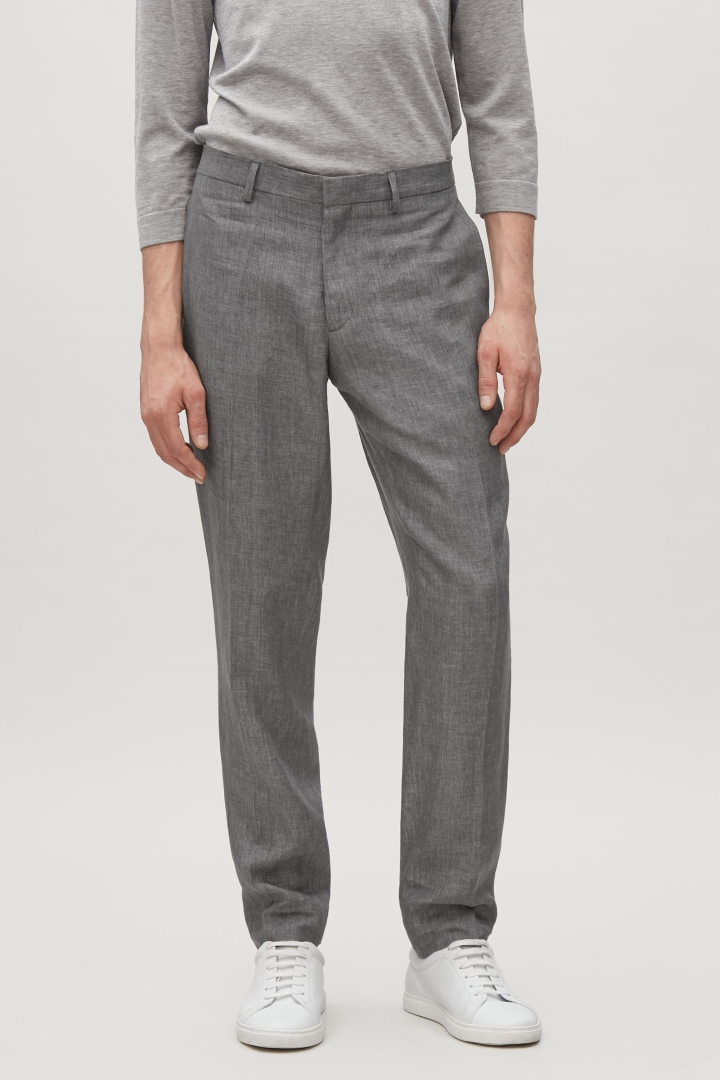 cos image 2 of linen trousers in dark grey pivbujp