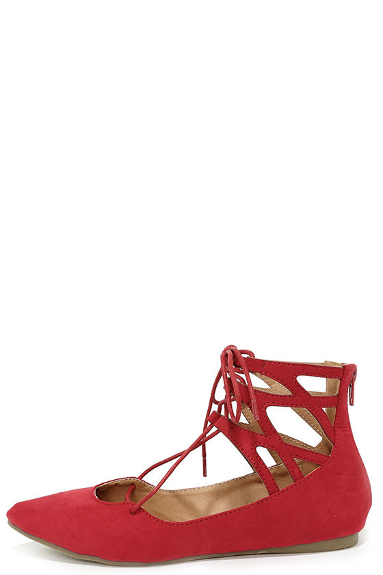 cute red flats - lace-up flats - cutout