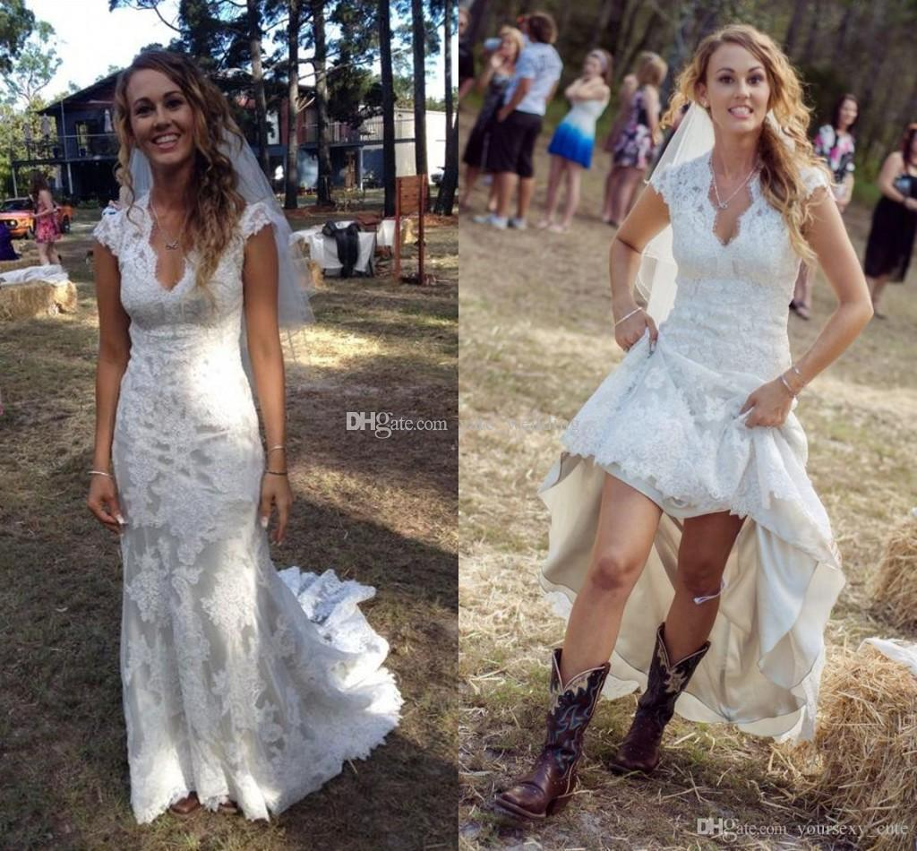discount 2018 vintage country wedding dresses v neck cap sleeves floor  length aqxvkje