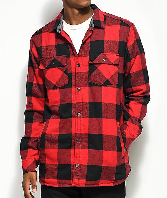 dravus rae red u0026 black buffalo plaid sherpa flannel shirt ... idfqyrs
