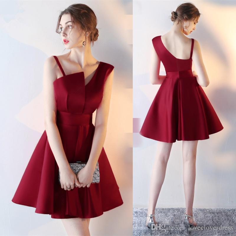 Dress For Party 2017 New Simple Burgundy Strapless Cocktail Dresses