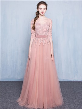 dress for party 60 a-line bateau neck lace applique floor-length long evening dress oiskttf