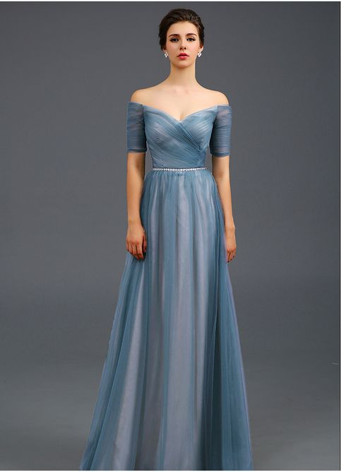dress for party light blue off the shoulder evening dress,a line formal dress,women evening  party ewbotih