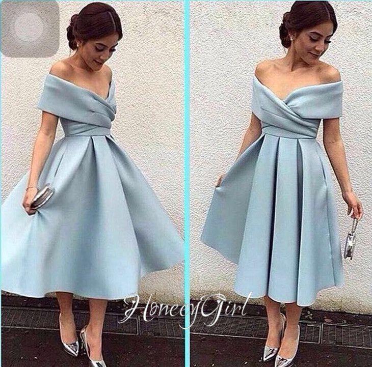 dress for party womneu0027s blue evening dress,tea-length evening dress,off-the-shoulder dtvbdjc