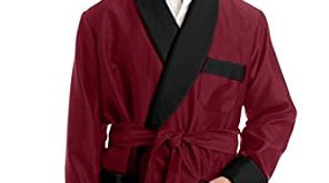 duke u0026 digham menu0027s satin smoking jacket (medium, burgundy) frixxmf