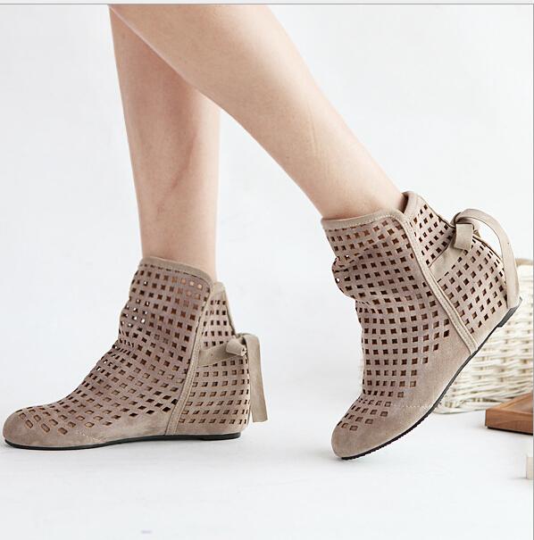 effgt 2017 new womenu0027s summer boots flat low hidden wedges cutout ankle xfabgtb