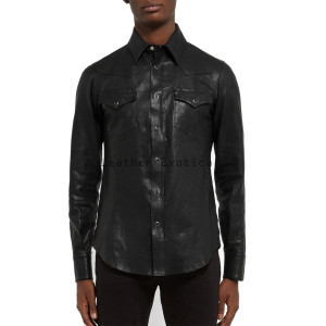 elegant long sleeves men leather shirt xyxssgl