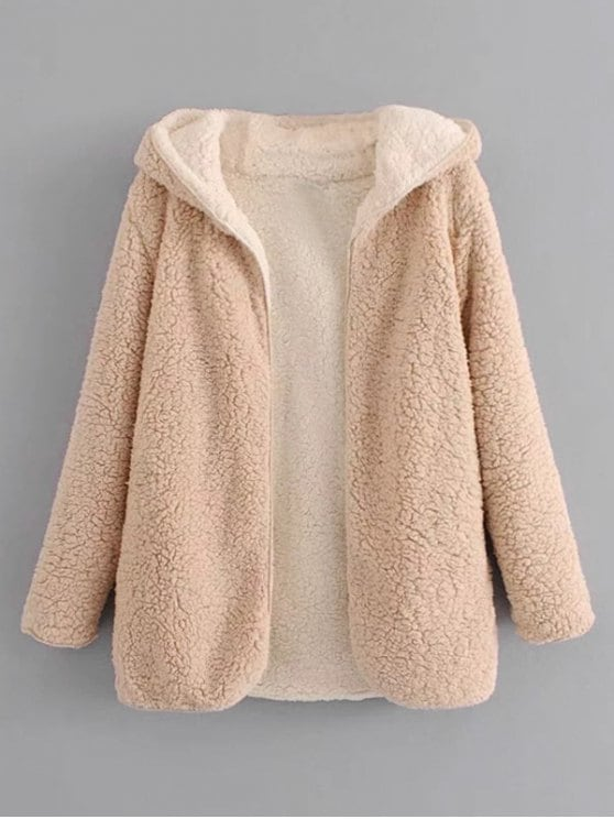 fashion hooded open front lamb wool coat - apricot m gizjocu