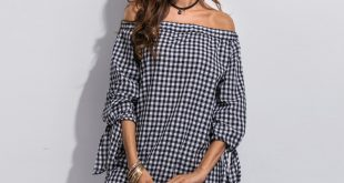 fashion loose dresses plaid simple summer women trendy dresses three  quarter sleeve unavlqt