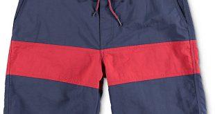 free world cutback navy u0026 red nylon board shorts ... sshxtkd
