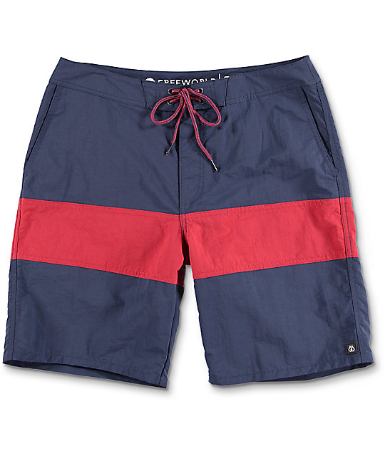 free world cutback navy u0026 red nylon board shorts ... sshxtkd