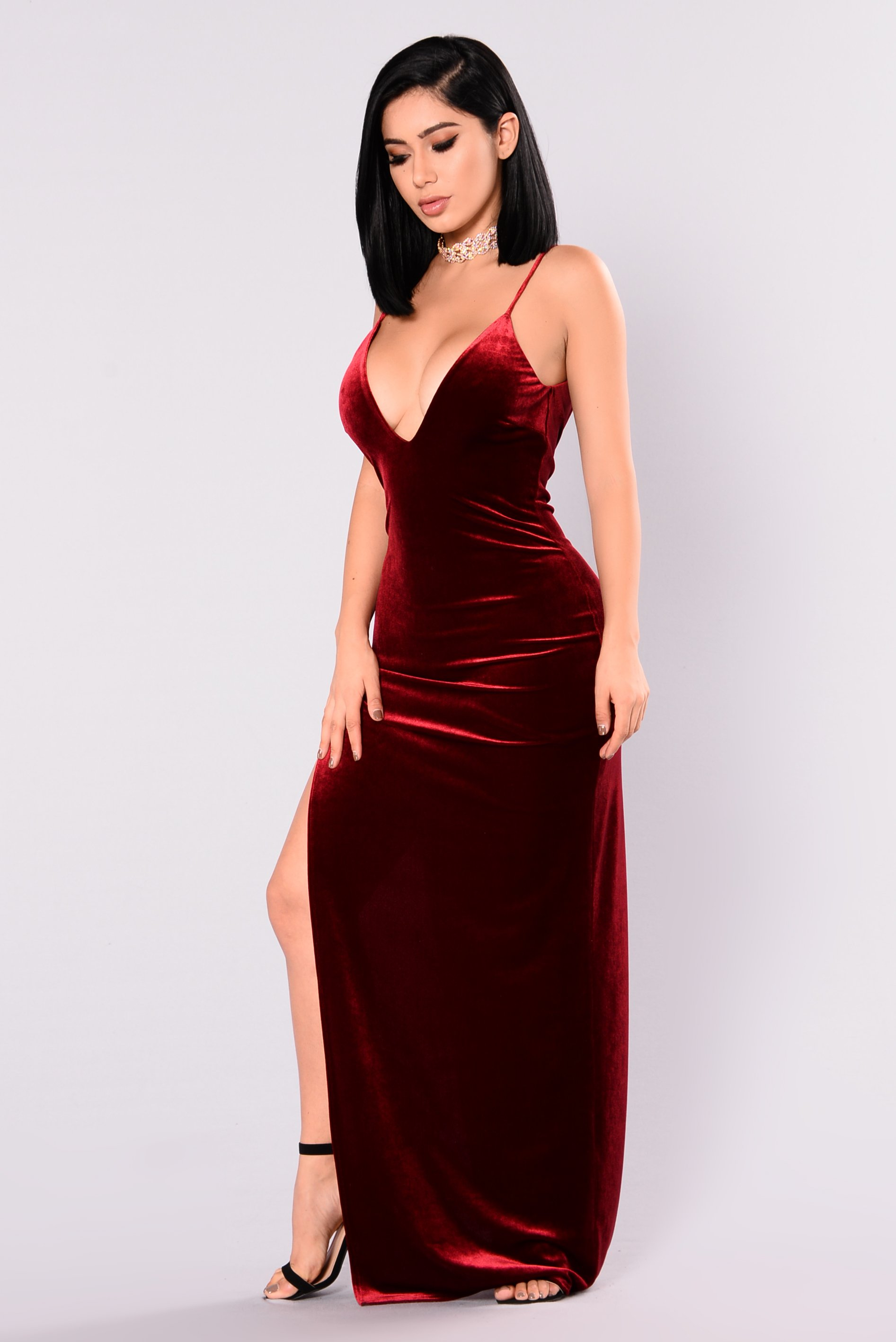 galant velvet dress - burgundy dkymkwe