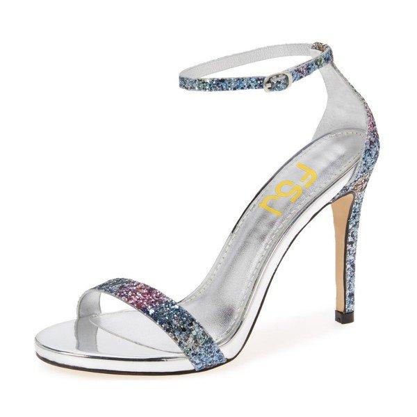 glitter ankle strap sandals light blue sparkly heels image ... rdrenal