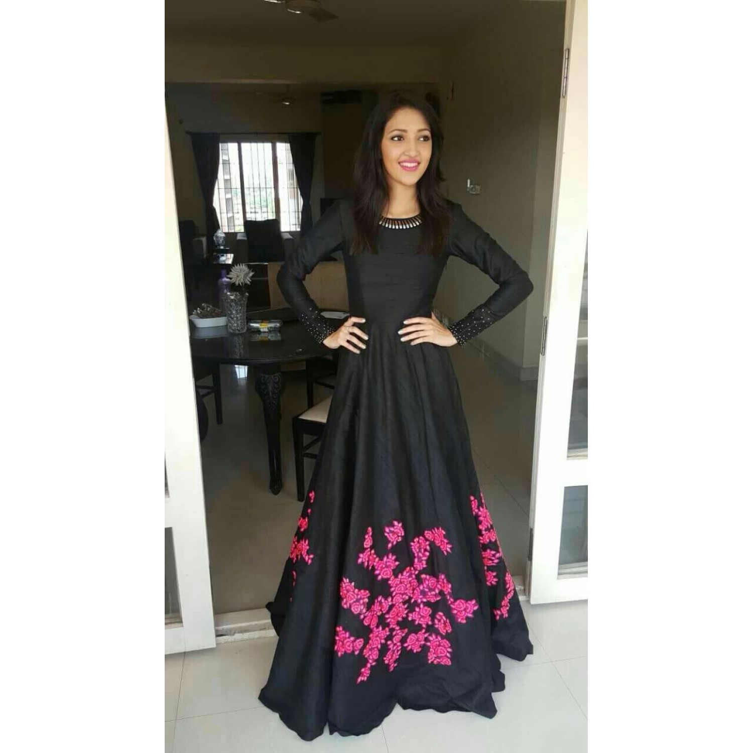 gorgeous black embroidered party wear gown jemopwh