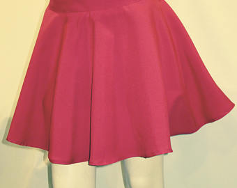 high waist full circle pink skirt, skater skirt~elastic waist band with one lgfiidc